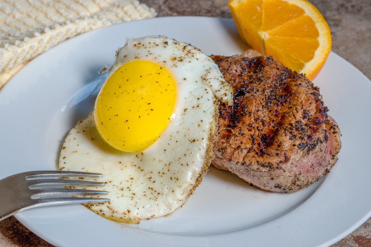 Steak and eggs high-protein breakfast meal