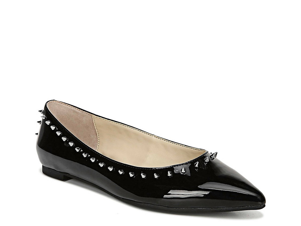 black patent flats with spikes