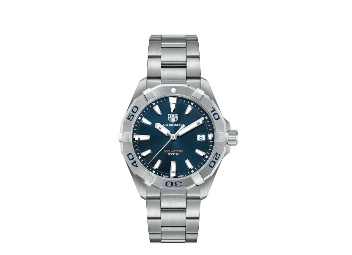 silver watch with blue face