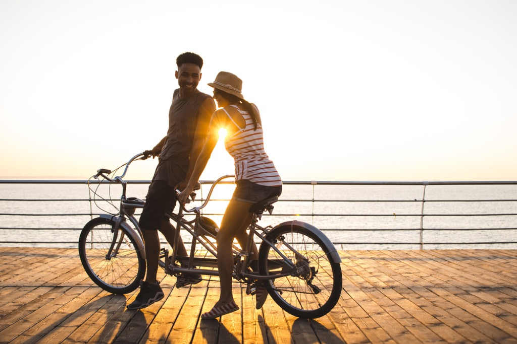 romantic experiences couple riding bike habits linked to a longer life