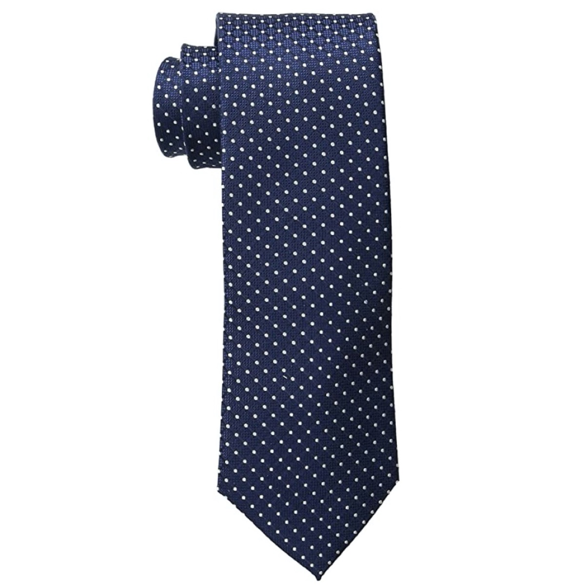 blue tie with white polka dots