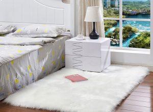 white faux fur rug in bedroom