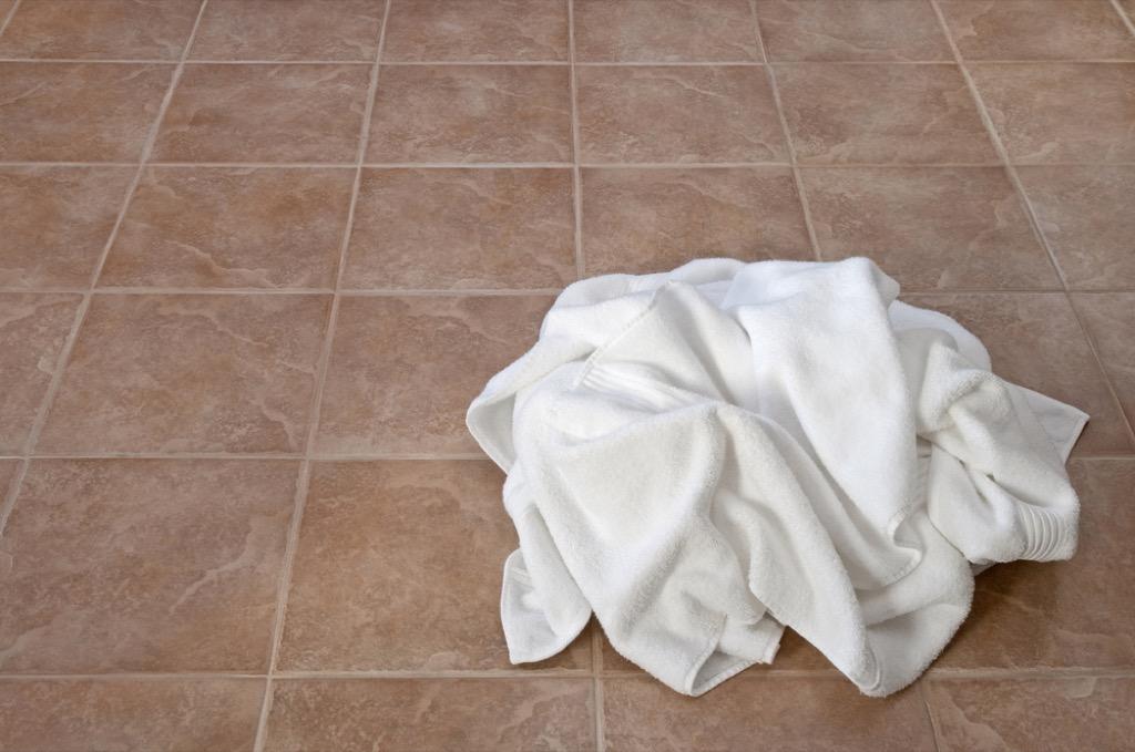 towels on floor home damage