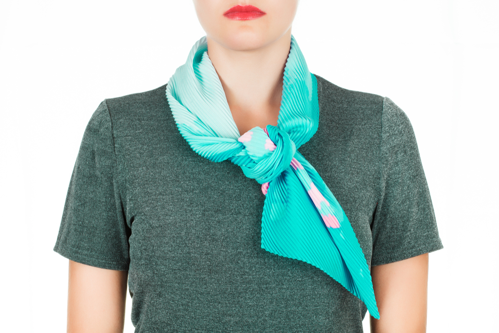 Woman Wearing Silk Scarf Clothing Choices Making You Look Older