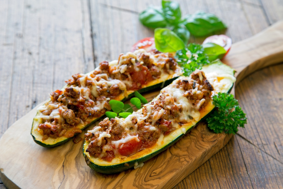 Zucchini boats filled with meat low-carb