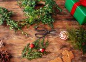 DIY Christmas hacks photo with wreath, scissors