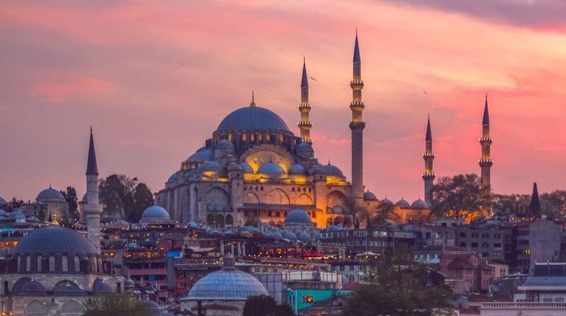 sunset over istanbul turkey