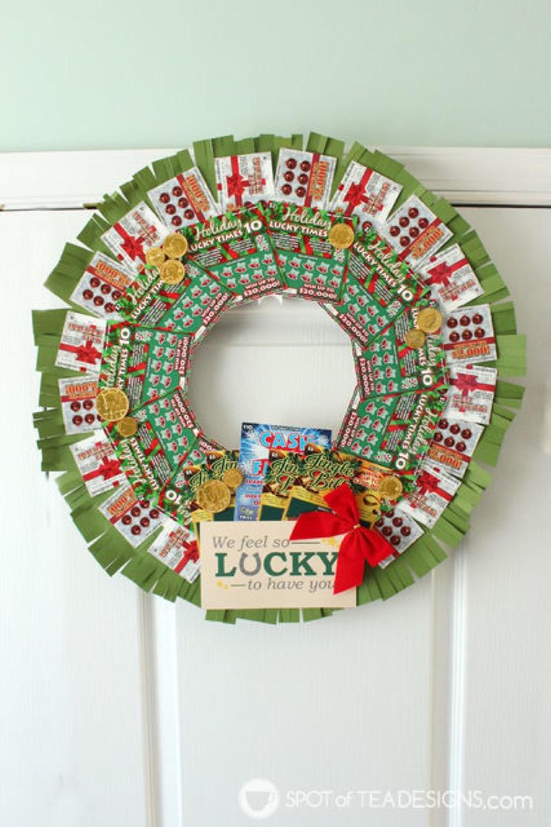 DIY Lottery Wreath {Christmas Gift Ideas}