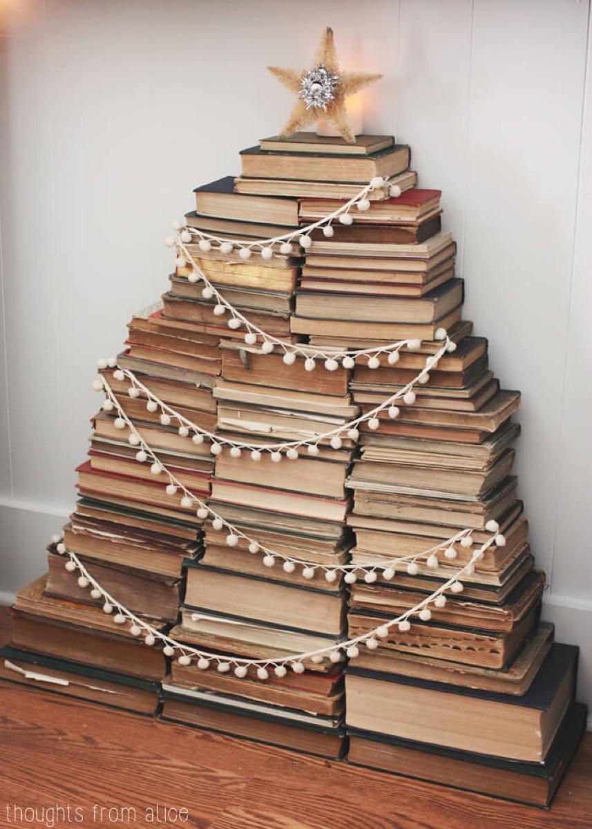 Stack of Books Christmas Tree {Christmas Tree Alternatives}