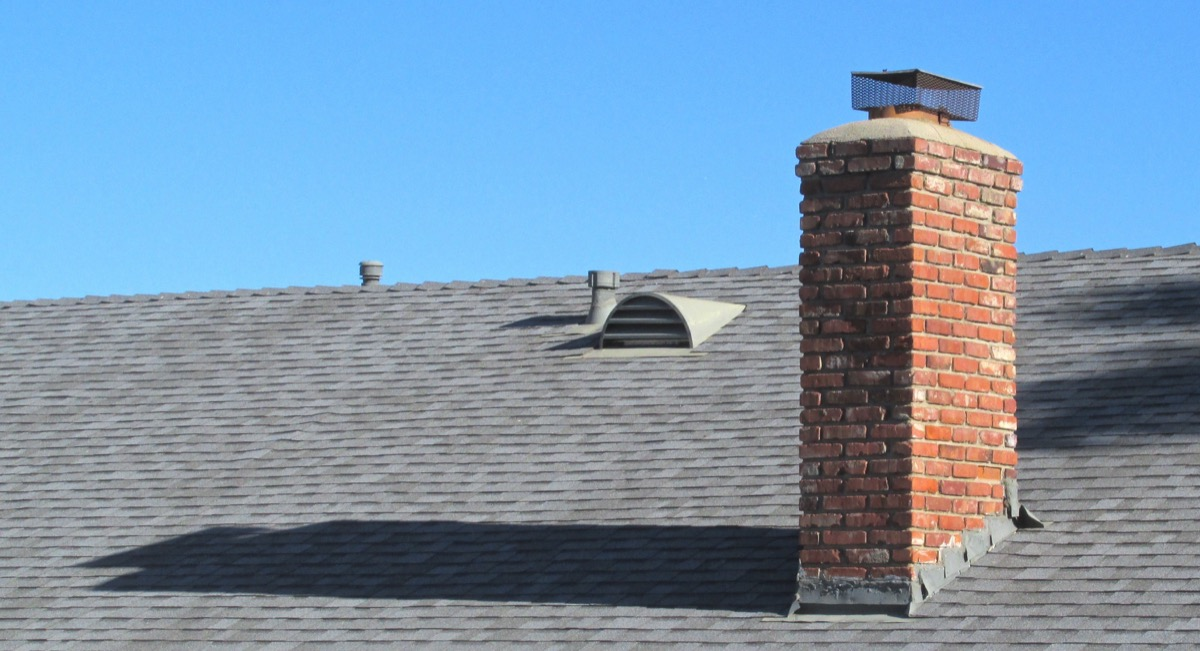 brick chimney on roof