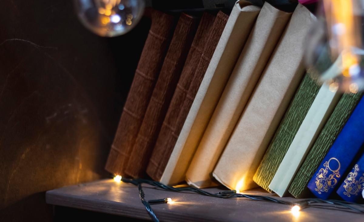 fairy christmas lights on top of a bookshelf
