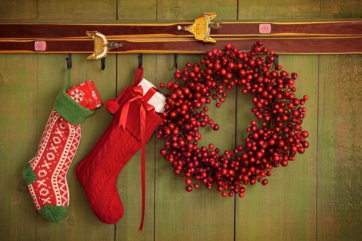holiday decor and christmas stockings