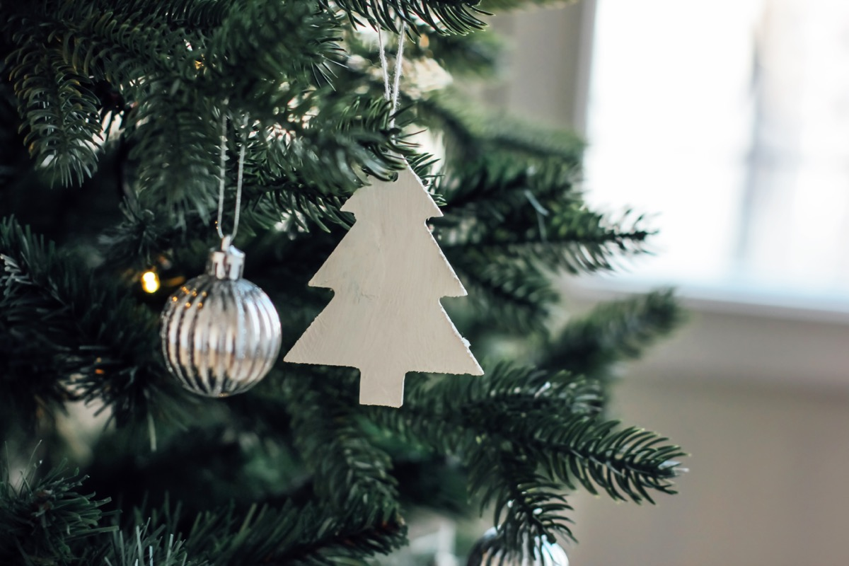 A Christmas tree with minimal decorations