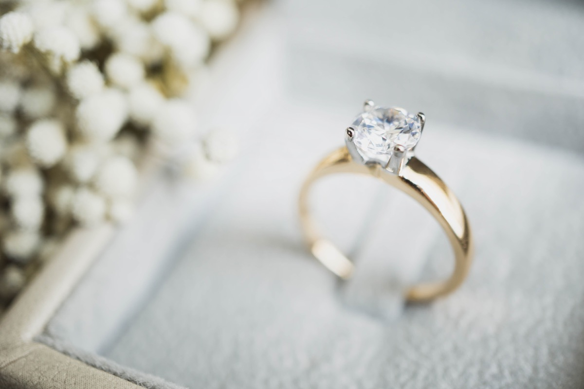 A diamond engagement ring in a box