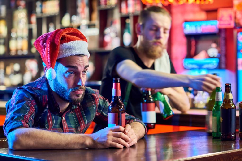 Drunk man at holiday party