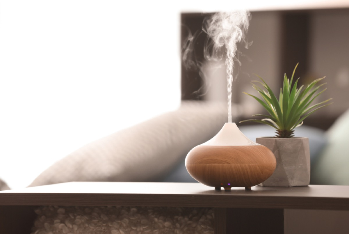wood toned essential oil diffuser next to succulent on nightstand
