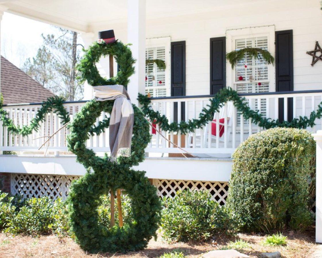 Evergreen wreath snowman diy christmas decorations