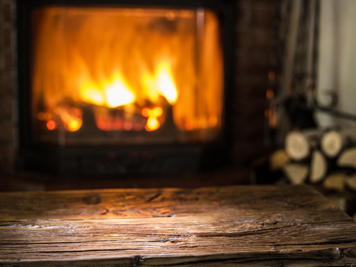 fireplace burning cloeseup