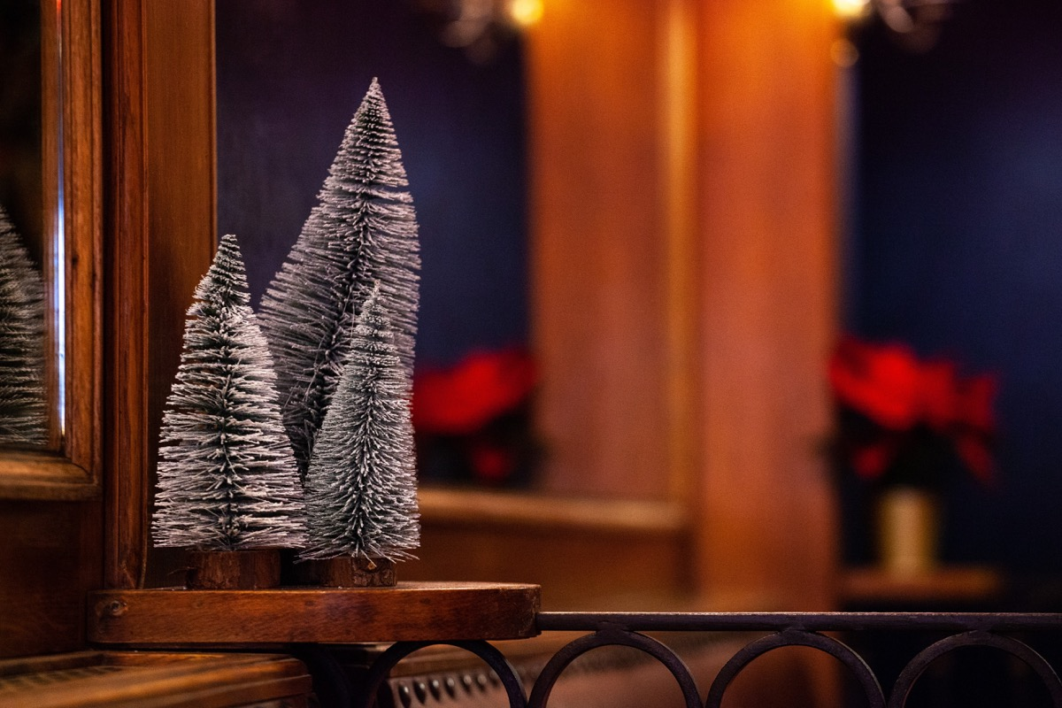 miniature flocked trees in a restaurant