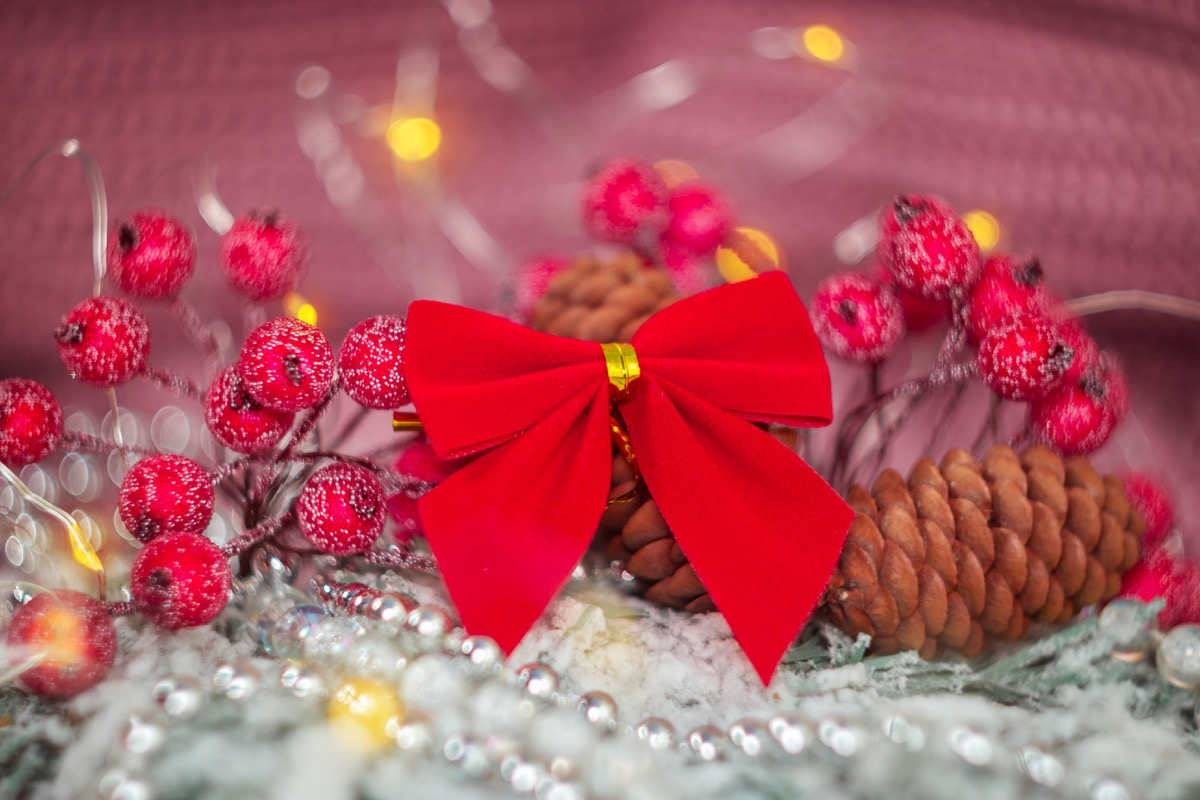grouping of red holiday decorations