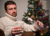 Man drinking alone on Christmas