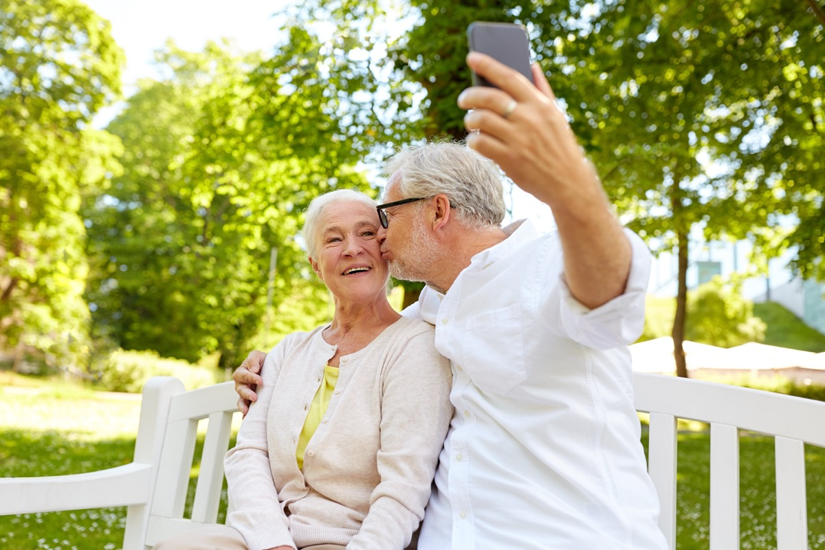 Older Couple Taking a Selfie Photo {Find Happiness}