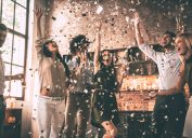 people celebrating all the good news in 2018 with a confetti party