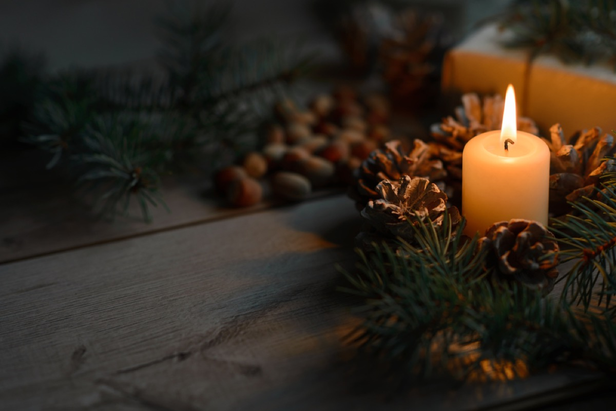 pine cone and candle centerpiece