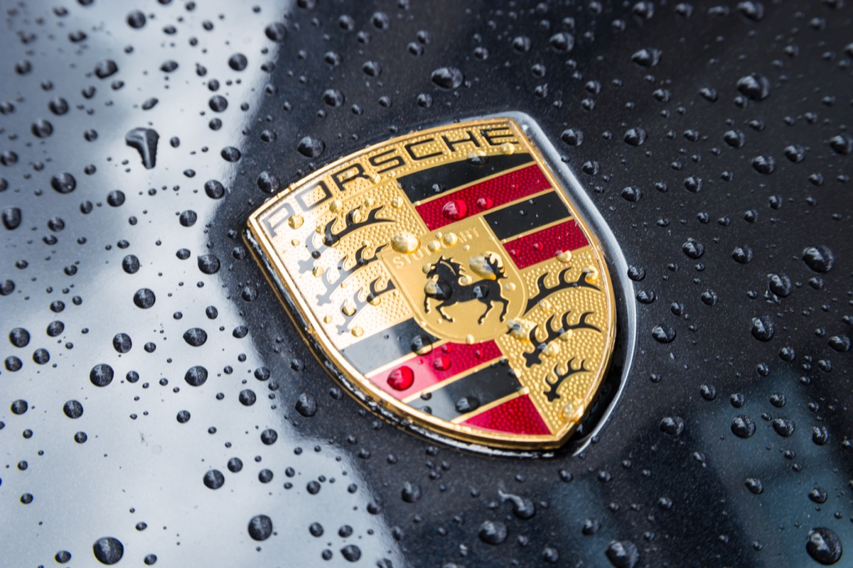 Porsche car in the rain