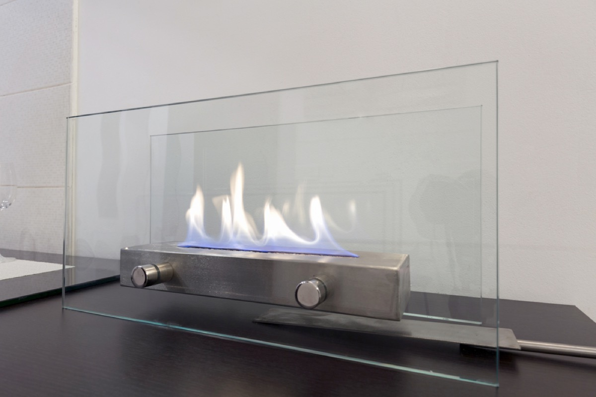 portable glass-encased fireplace