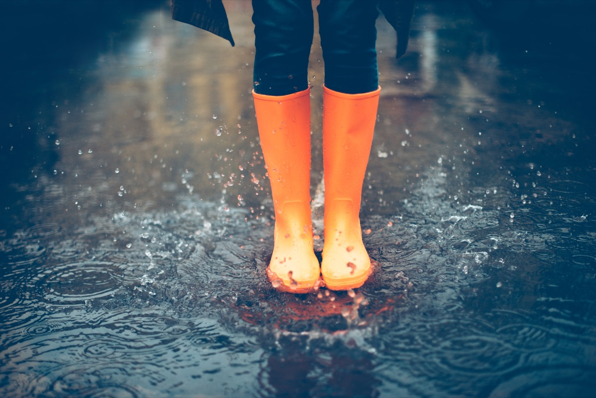 rain boots in a puddle