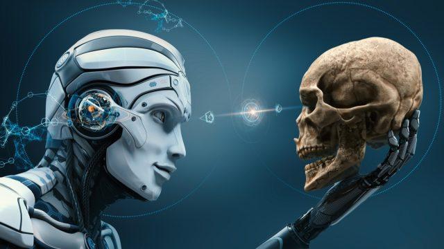 Killer robot holding a human skull