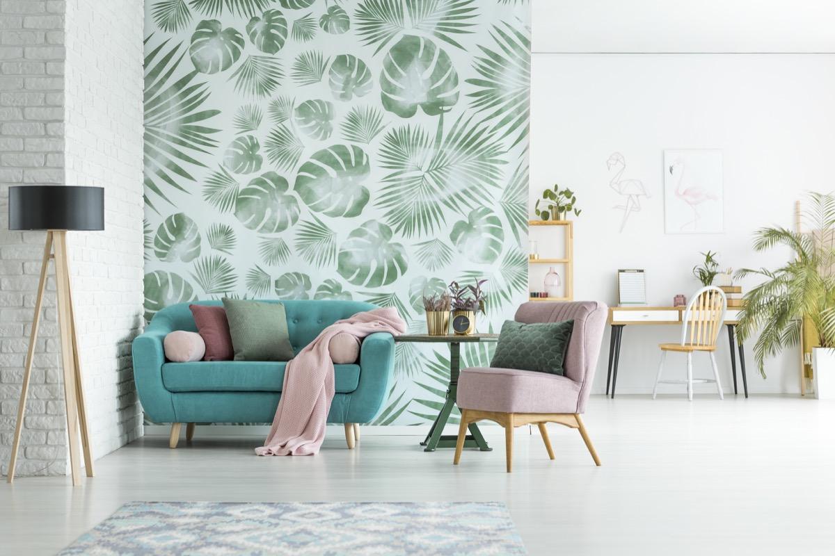 room with interesting wallpaper celebrity home design tricks