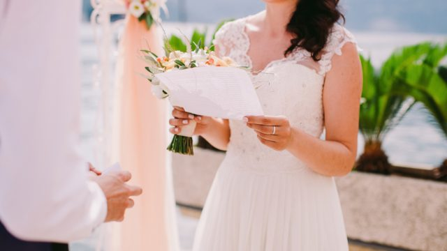 woman reads wedding vows, craziest things brides and grooms have ever done