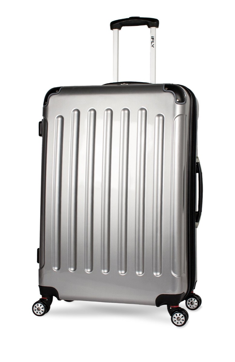 silver hard sided suitcase
