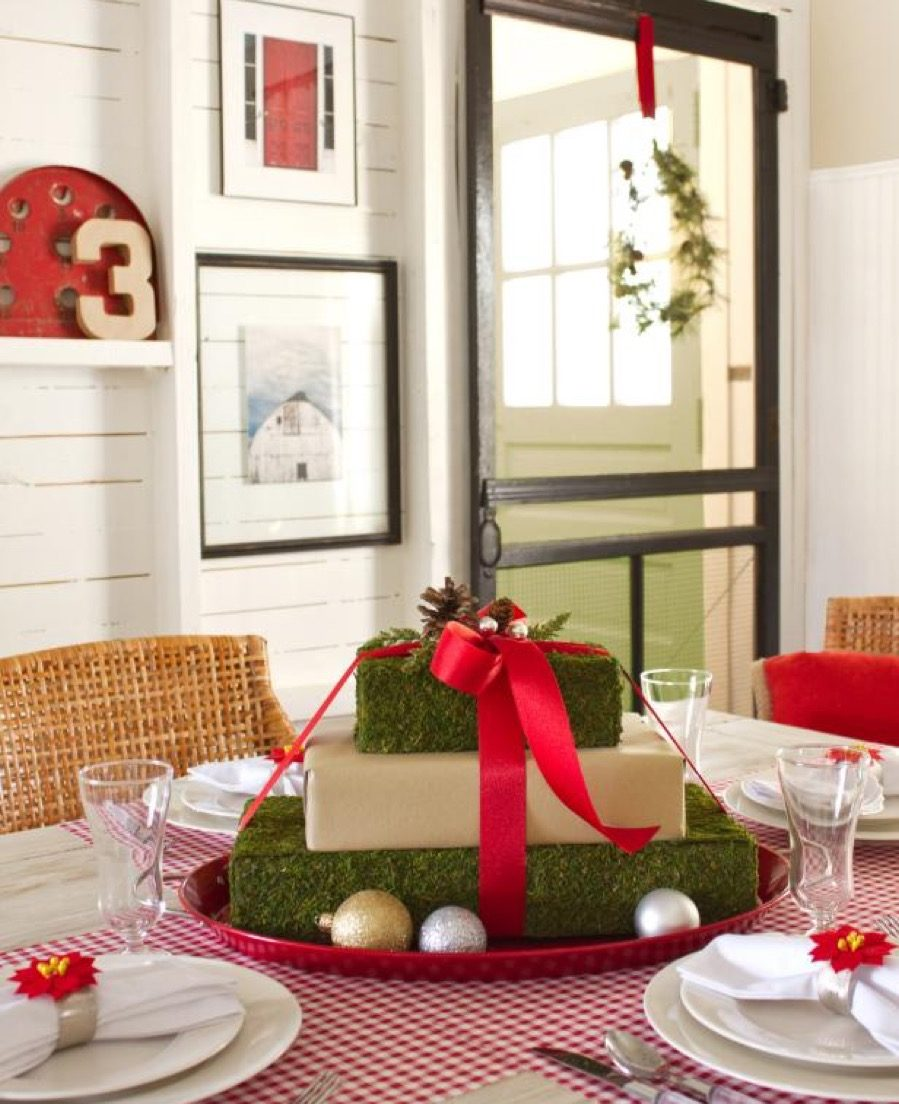 Stacked gifts centerpiece diy christmas decorations