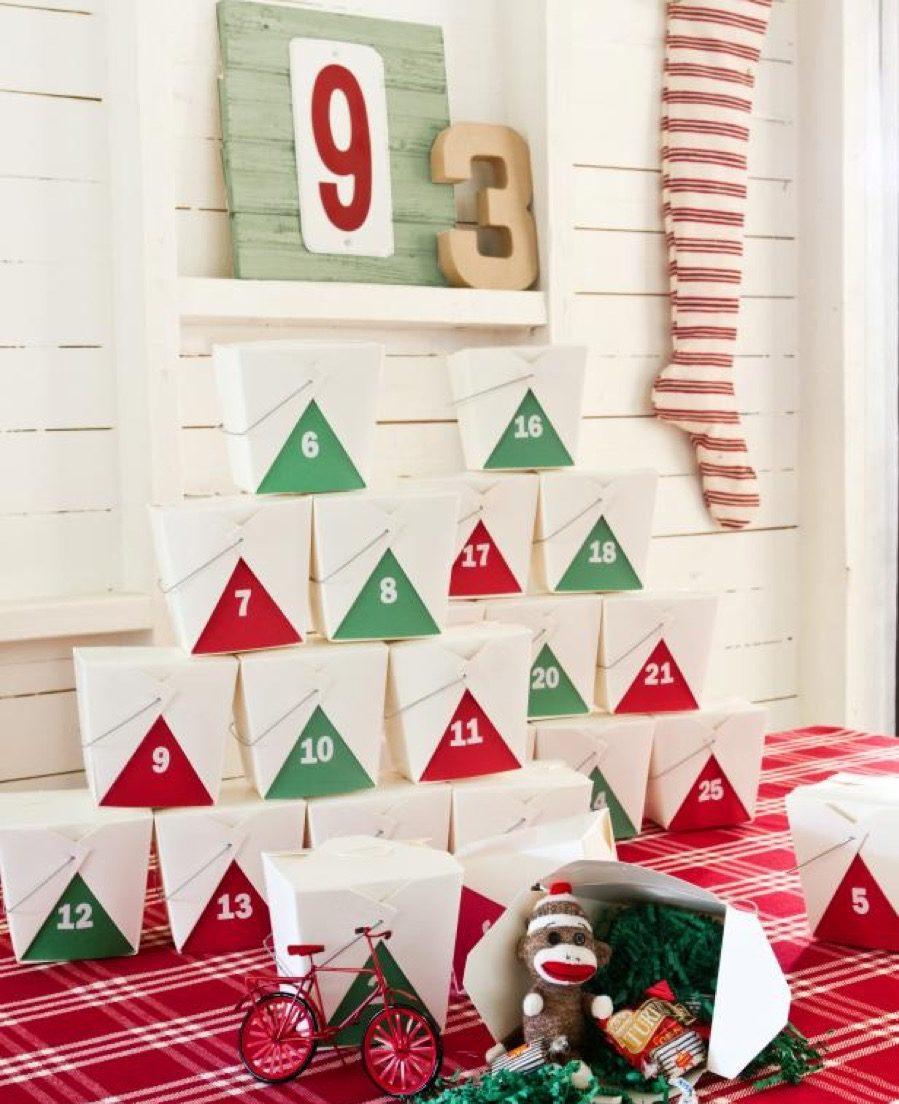 Takeout box advent calendar diy christmas decorations