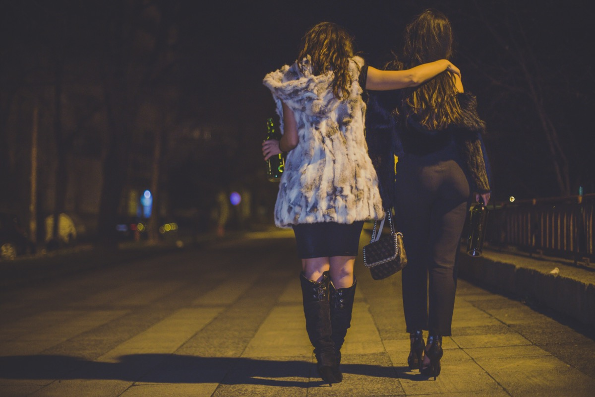 two girls leaving a party together