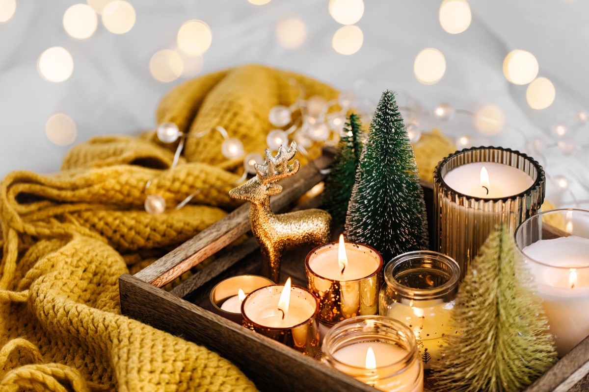 winter decorations grouping on tabletop