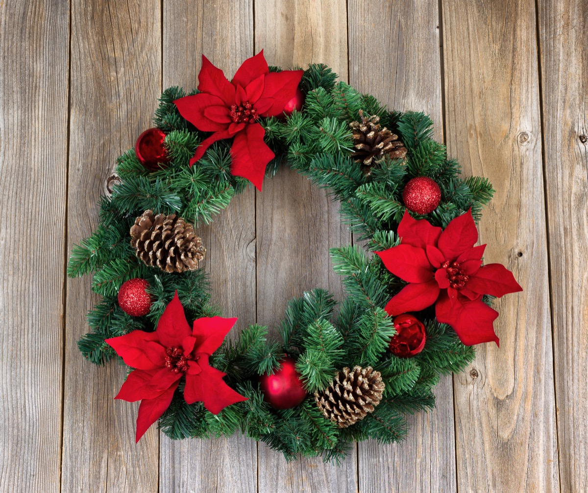 christmas wreath with poinsettas