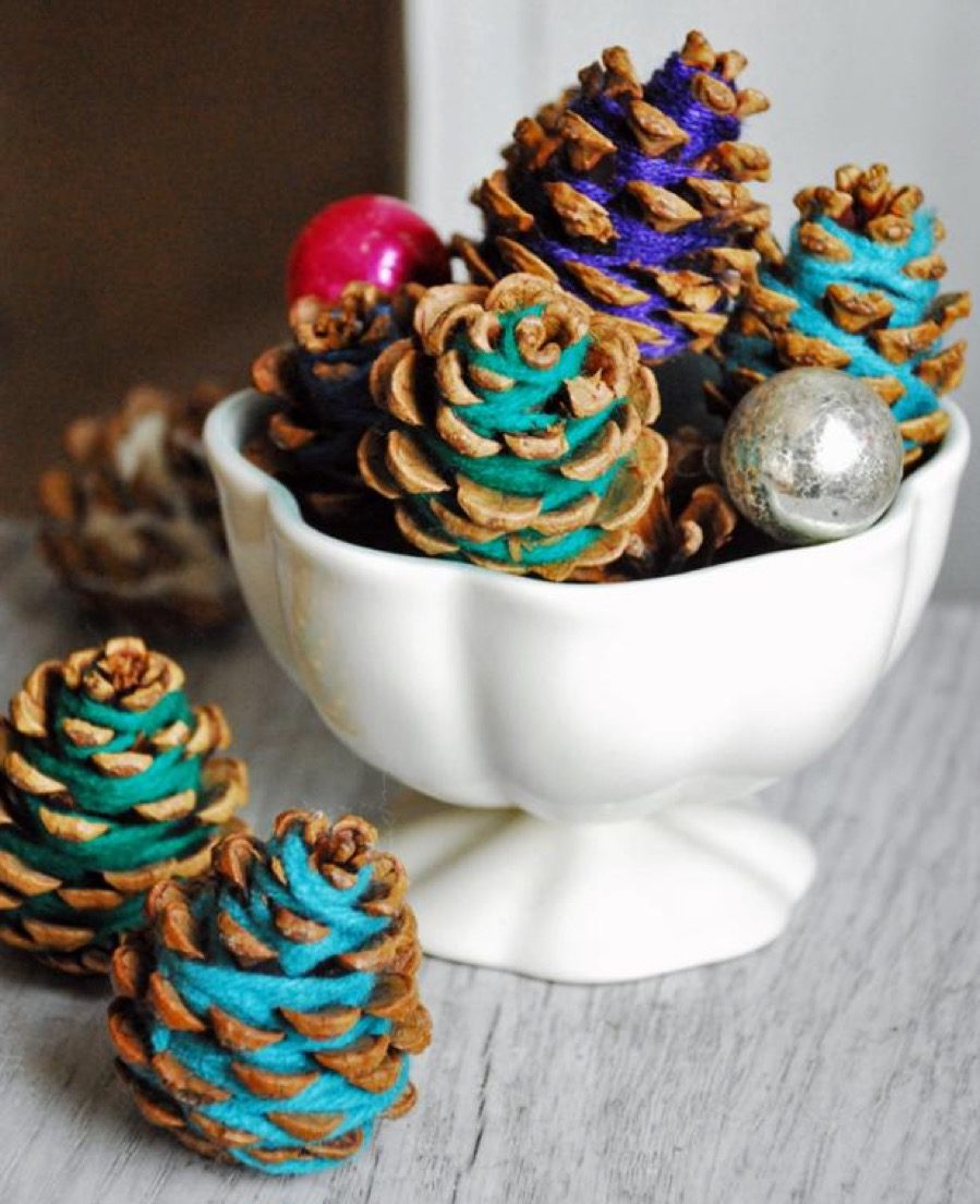 Yarn-wrapped pinecones diy christmas decorations