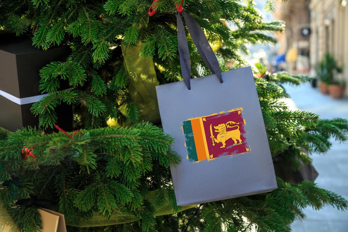 Christmas tree with shopping bag with flag of Sri Lanka