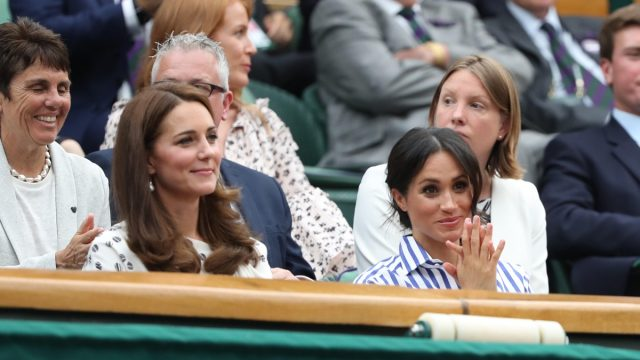 Kate (Catherine Middleton) Duchess of Cambridge and Meghan Markle, Duchess of Sussex. Ladies Finals Day, Day 12 Wimbledon Tennis The Championships, Wimbledon, London, on July 14, 2018