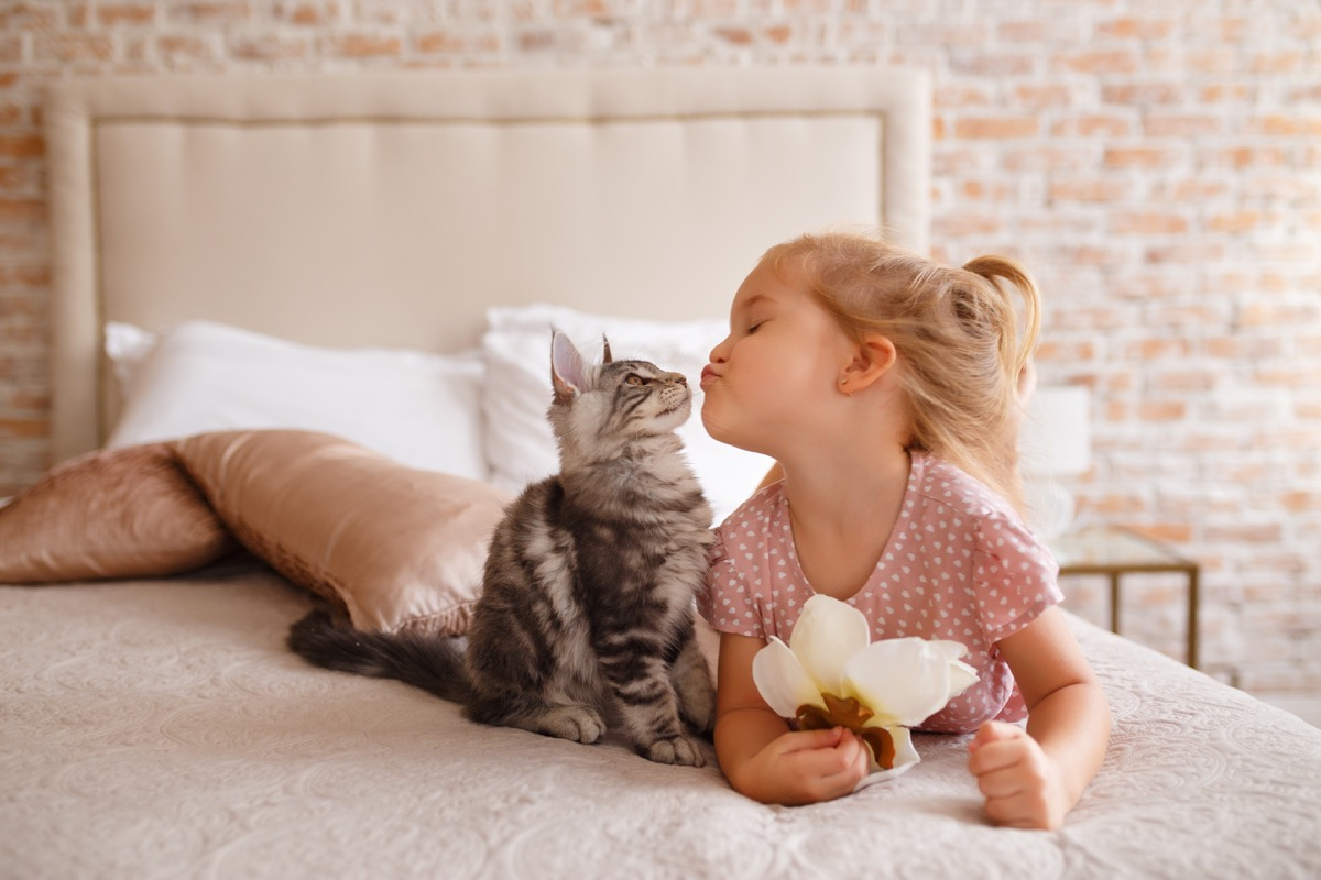 cat and girl smiling at each other - cat puns