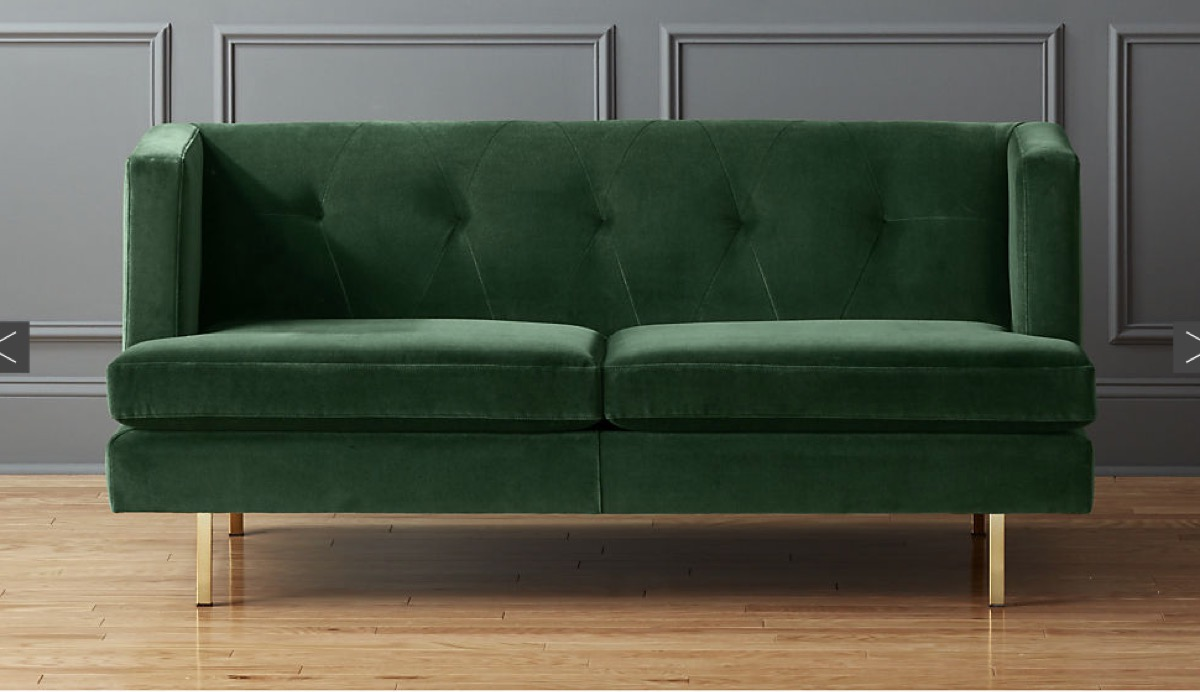 Green Velvet CB2 Sofa buy after holidays