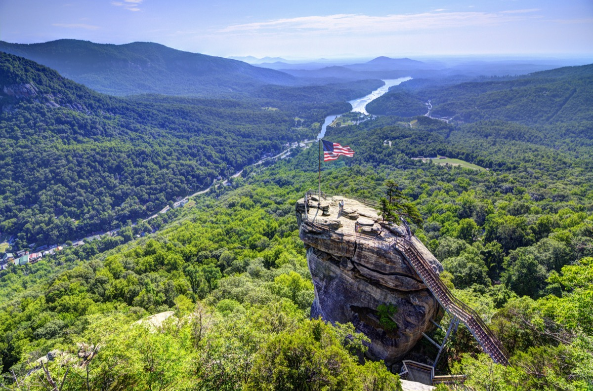 Chimney Rock in North Carolina from above