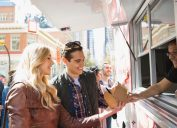 Couple ordering food at a food truck