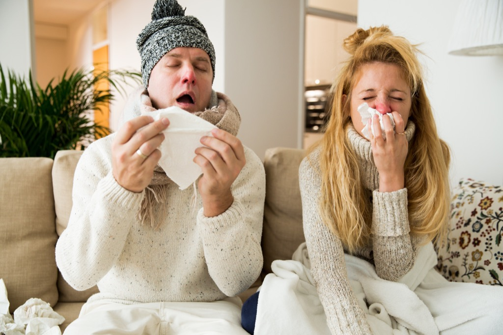Couple Sick with the Flu life changes after marriage
