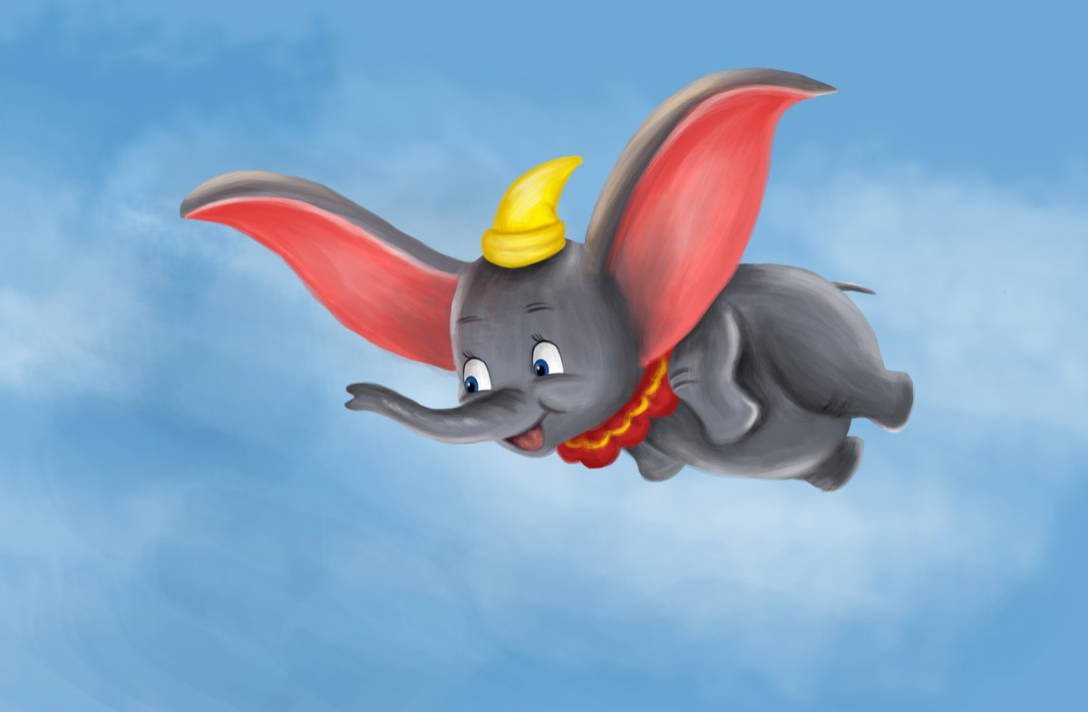 dumbo painting flying in the sky