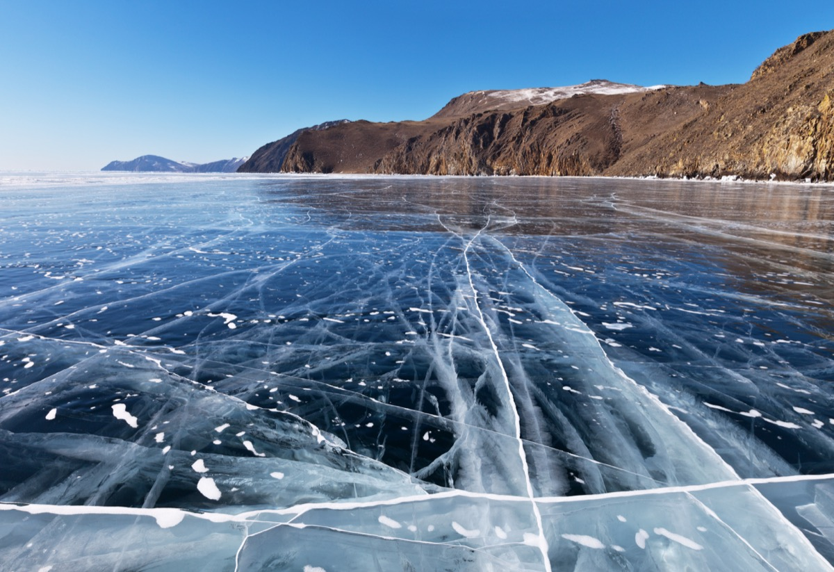 Lake Baikal in Russia, frozen over